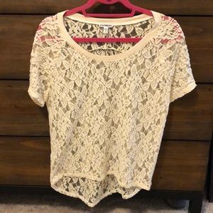 Express lace cream top